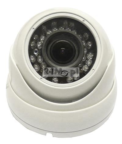 Zewnętrzna kamera kopułkowa AHD 4 MPX [2688 x 1520] - markowe podzespoły SONY i NEXTCHIP, regulowany obiektyw 2,8 - 12 mm, 36 diod podczerwieni, norma szczelnoœci IP66