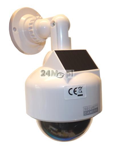 Atrapa kamery obrotowej PTZ z diodš sygnalizujšcš pracę [na baterie i/lub panel solarny] - do zastosowań wewnętrznych