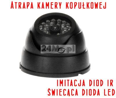 Atrapa wewnętrznej kamery kopułkowej z diodš LED sygnalizujšcš pracę