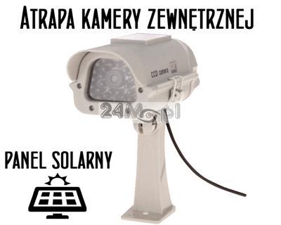 Atrapa kamery zewnętrznej z podczerwieniš, wbudowana dioda LED na zasilanie solarne [lub bateryjne]