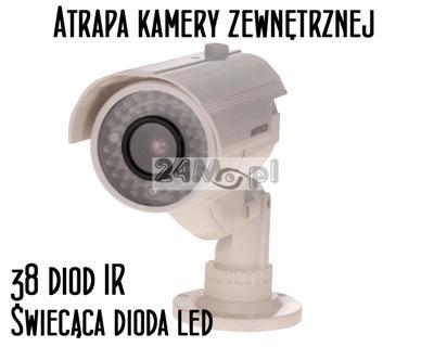 Atrapa kamery zewnętrznej - imitacja 38 diod podczerwieni, dioda LED sygnalizujšca pracę, solidne wykonanie