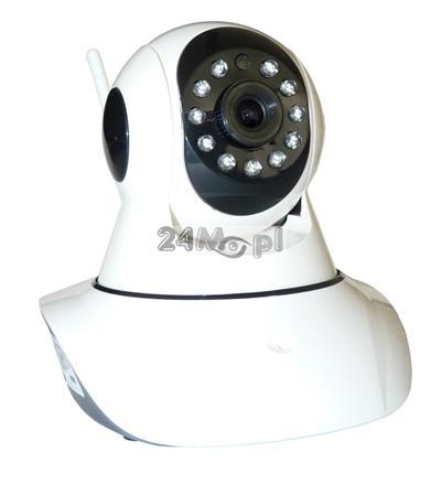 Obrotowa kamera IP HD z wbudowanym modułem WiFi - praca w chmurze, wbudowany mikrofon i głoœnik, 11 diod podczerwieni