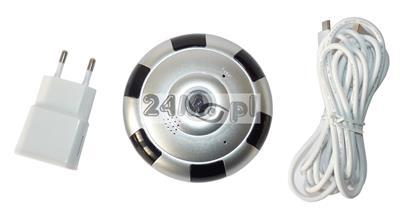 Kamera kopułkowa IP WiFi z kštem widzenia 360 stopni - jakoœć obrazu HD, dwustronna komunikacja głosowa, zapis na kartach microSD