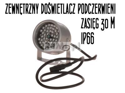 Zewnętrzny doœwietlacz - promiennik podczerwieni - zasięg IR do 30 metrów, hermetyczna obudowa, niski pobór mocy