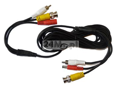40 - metrowy przewód do kamer telewizji przemysłowej - video [BNC], audio [RCA], zasilanie