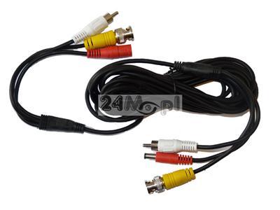 5 - metrowy przewód do kamer telewizji przemysłowej - audio (RCA), video (BNC), zasilanie