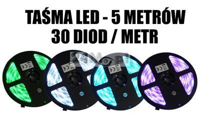 Taœma LED RGB o długoœci 5 metrów, 30 diod/metr, jasnoœć SMD 5050, norma szczelnoœci IP65