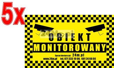 Naklejka ostrzegawcza, informujšca o zainstalowanym systemie monitoringu wizyjnego - OBIEKT MONITOROWANY, wymiary 20 x 12 cm