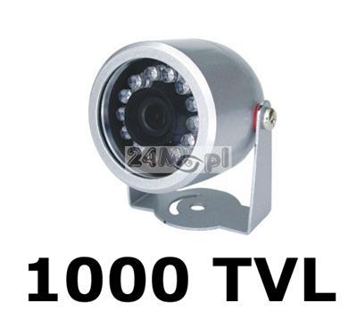 MINI kamera zewnętrzna - przetwornik SHARP, 1000 linii, szeroki kšt widzenia (90 stopni), 12 diod podczerwieni, hermetyczna obudowa