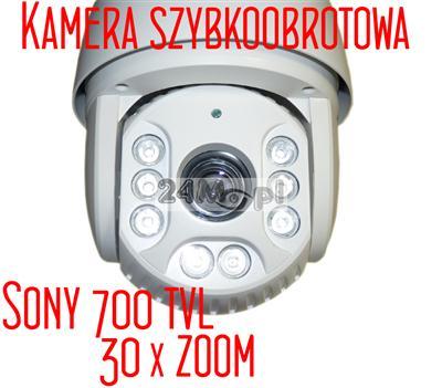 Szybkoobrotowa kamera z przetwornikiem 1/3 SONY 700 TVL, 30 - krotnym ZOOMem optycznym i podczerwieniš o zasięgu 120 metrów
