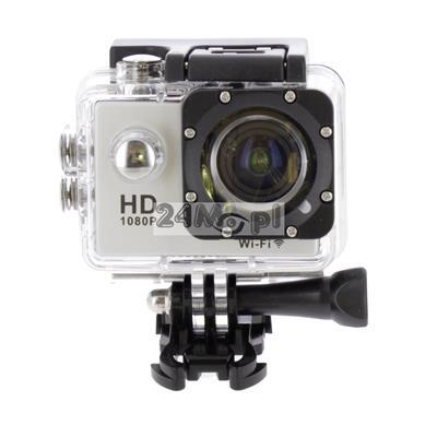 Sportowa kamera FULL HD z wbudowanym modułem WiFi - tryb VIDEO i FOTO, zapis z prędkoœciš do 60 klatek / sekundę, kšt widzenia 140 stopni, wbudowany mikrofon, wodoszczelna obudowa, uchwyty i mocowania