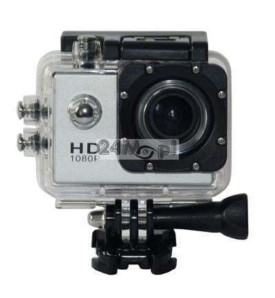 Sportowa kamera FULL HD - tryb VIDEO 60 klatek/sekundę, tryb FOTO [do 12 MPX], kšt 170 stopni, wbudowany mikrofon, wodoodporna obudowa [do 30 metrów] oraz inne akcesoria