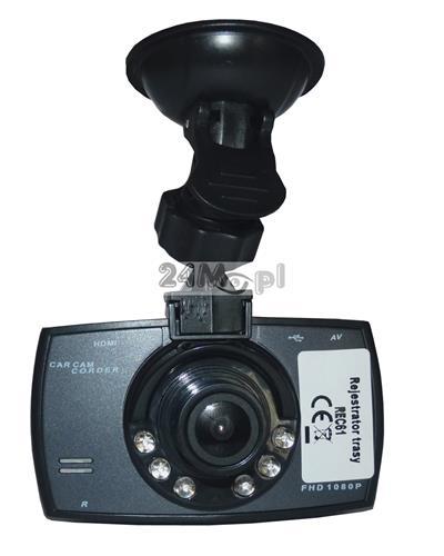 Rejestrator trasy do samochodu - tryb VIDEO (rozdzielczoœć 1080P - FULL HD) i FOTO (rozdzielczoœć do 12 MPX), wbudowany mikrofon, szeroki kšt widzenia, zasilanie 12 V