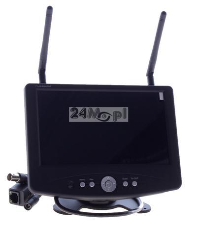 Odbiornik do kamer bezprzewodowych z LCD 7 cali - funkcja rejestracji na kartach SD (do 64 GB), jakoœć HD, płynny ruch, dostęp zdalny przez Internet