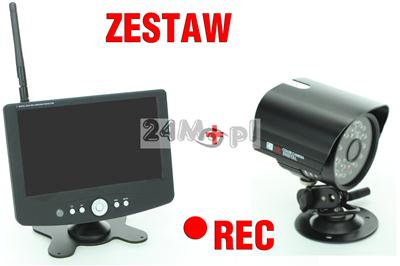 Zestaw do samodzielnego montażu - kamera bezprzewodowa + odbiornik z rejestratorem i wyœwietlaczem LCD
