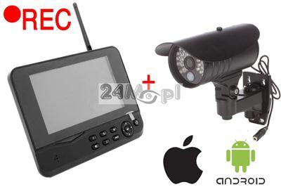 Zestaw do samodzielnego montażu - kamera bezprzewodowa + odbiornik z rejestratorem i wyœwietlaczem LCD, dostęp zdalny przez telefony komórkowe!