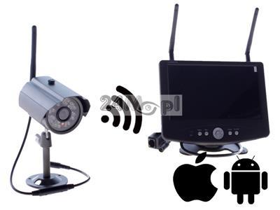 Zestaw do monitoringu wizyjnego - kamera FULL HD i odbiornik z wbudowanym wyœwietlaczem 7 cali, kodowana cyfrowo transmisja na odległoœć do 200 metrów, zapis na kartach SD (128 GB)
