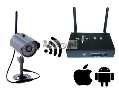 Bezprzewodowy zestaw do monitoringu wizyjnego - kamera i odbiornik z funkcjš rejestratora, zapis na kartach SD, kodowana cyfrowo transmisja danych, pełny dostęp zdaalny