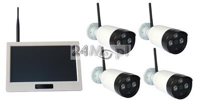 4 kamery i odbiornik z wyœwietlaczem LCD 10,1 - zestaw bezprzewodowy do monitoringu, FULL HD, dzień / noc, podglšd zdalny przez telefon lub tablet [Android, Apple iOS]