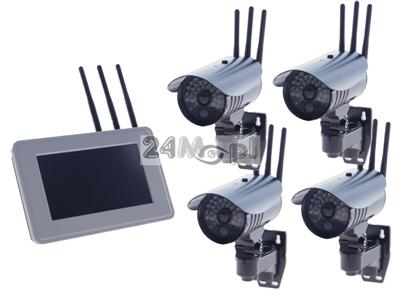Zestaw do monitoringu wizyjnego - 4 kamery bezprzewodowe i odbiornik LCD 7, jakoœć HD, zapis na zewnętrznych dyskach twardych, zasięg do 300 metrów