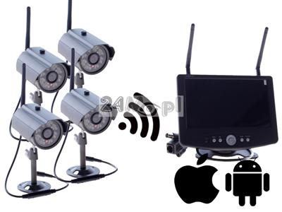 Zestaw bezprzewodowy do monitoringu - 4 kamery, odbiornik z wyœwietlaczem LCD 7 cali, zapis na kartach SD (do 64GB), dostęp zdalny przez telefony i tablety