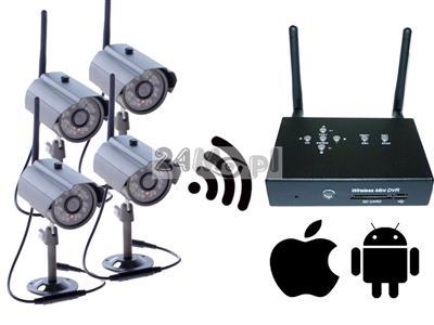 Zestaw do monitoringu bezprzewodowego - 4 kamery, miniaturowy odbiornik z zapisem na SD, jakoœć HD, kodowana cyfrowo transmisja