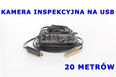 Kamera endoskopowa/inspekcyjna na USB, przewód 20 metrów, 4 diody IR LED, IP 67