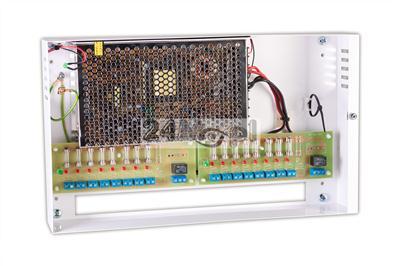 Zasilacz buforowy 12 V DC, 16 A - 16 osobnych wyjœć 1 A z bezpiecznikami